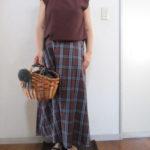 GUブラウンベースチェックフレアロングスカート