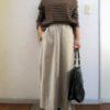 ポケット・裏地付きは嬉しい!GUリネンブレンドフレアロングスカート