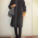ユニクロ☆ブラックボアフリースコートにマスタード色の小物で変化