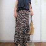 ユニクロアンサンブルと小花柄スカート
